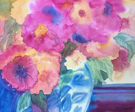 Blues And Blooms 12 h x 14.5 w 125.00