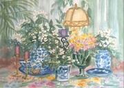 Flowers On Table With Lamp
