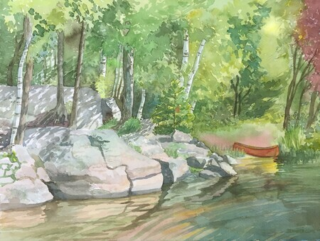 :: SOLD :: Red Canoe And Rocks
